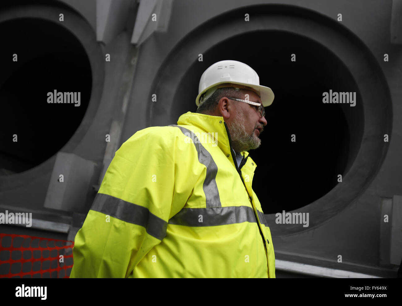 April 22, 2016 - Worker is seen at the nuclear-fuel storage facility next to the Chernobyl Nuclear Power plant, - Stock Image