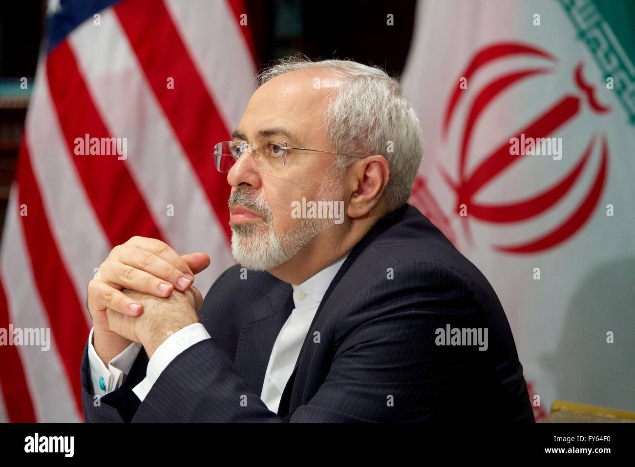 New York, USA. 22nd Apr, 2016. Iranian Foreign Minister Javad Zarif during a bilateral meeting with U.S. Secretary Stock Photo