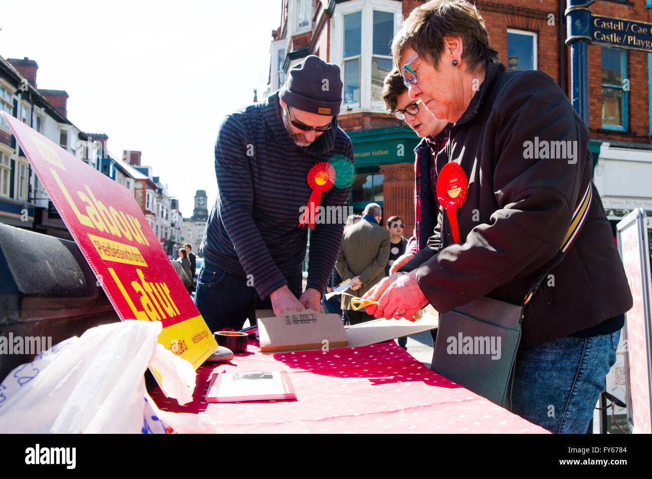 Aberystwyth Wales UK, Saturday 23 April 2016  Labour Party supporters in the Wales Assembly elections campaigning - Stock Image