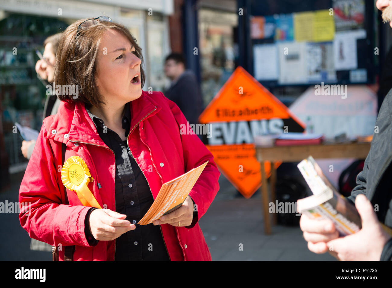Aberystwyth Wales UK, Saturday 23 April 2016  Elizabeth Evans, the Welsh Liberal Democrat party candidate for the - Stock Image