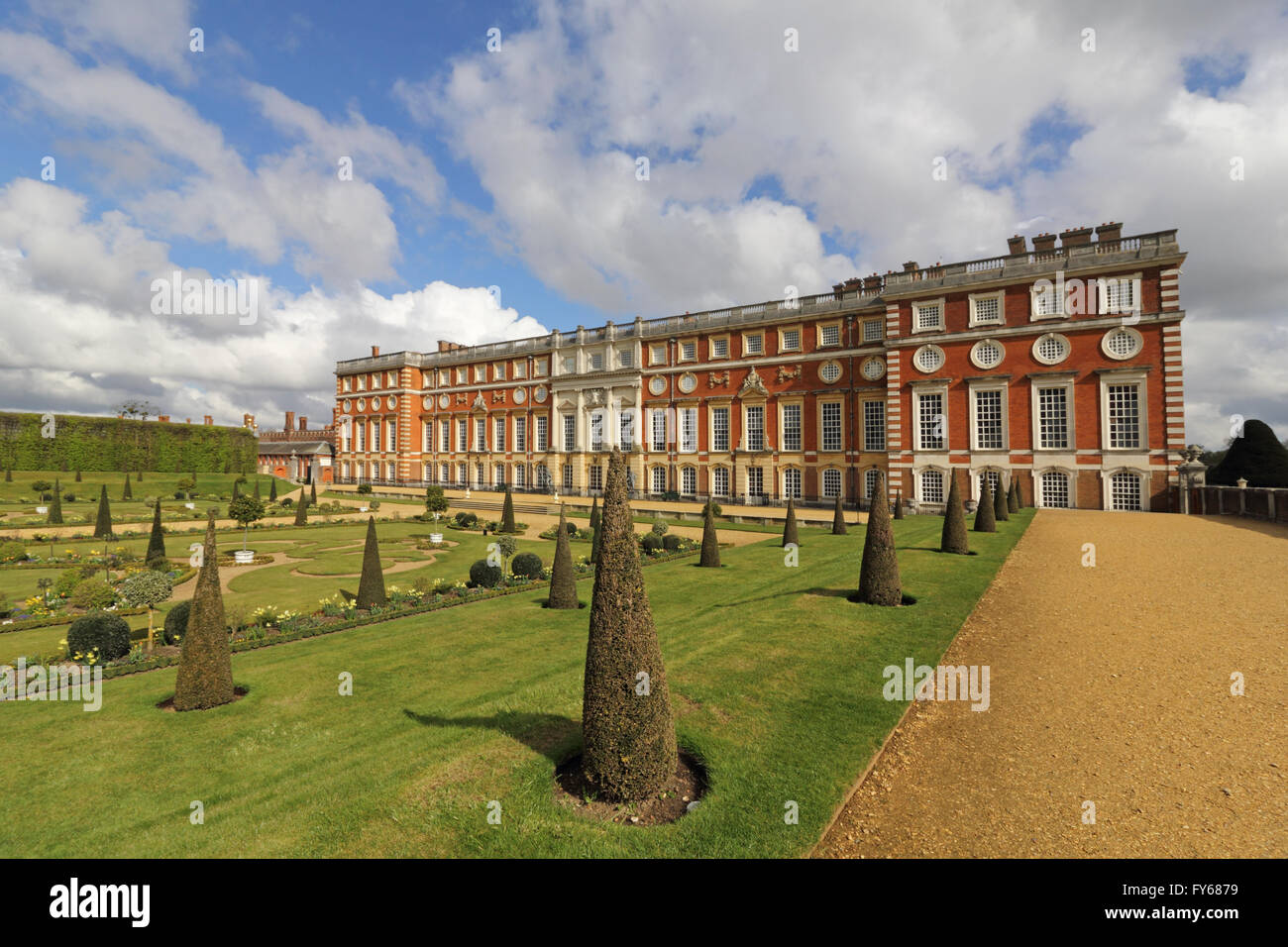 Hampton Court Palace, London, UK. 23rd April 2016. The beautifully designed privy garden and the southern facade - Stock Image