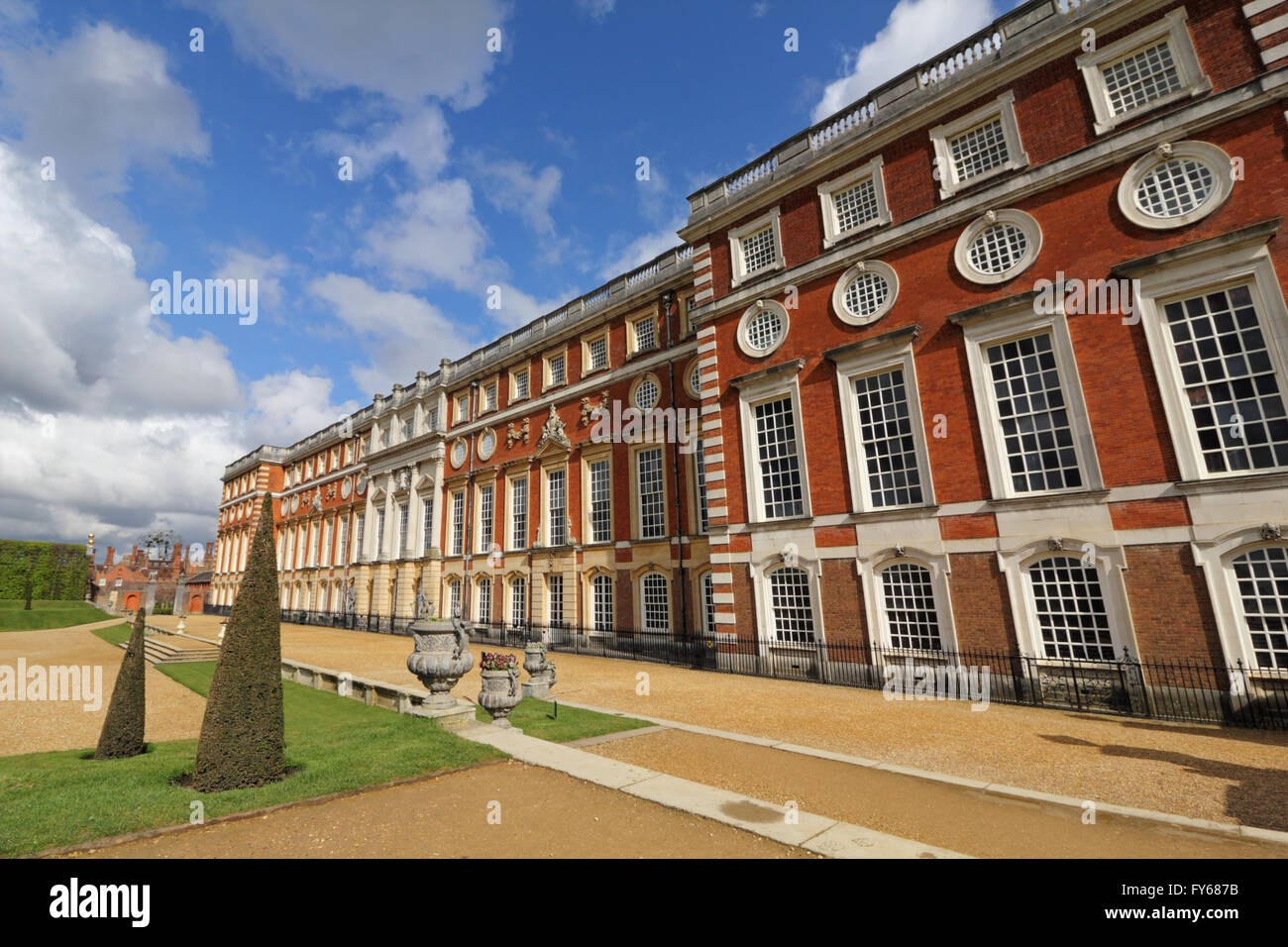 Hampton Court Palace, London, UK. 23rd April 2016. The beautifully designed privvy garden and the southern facade - Stock Image