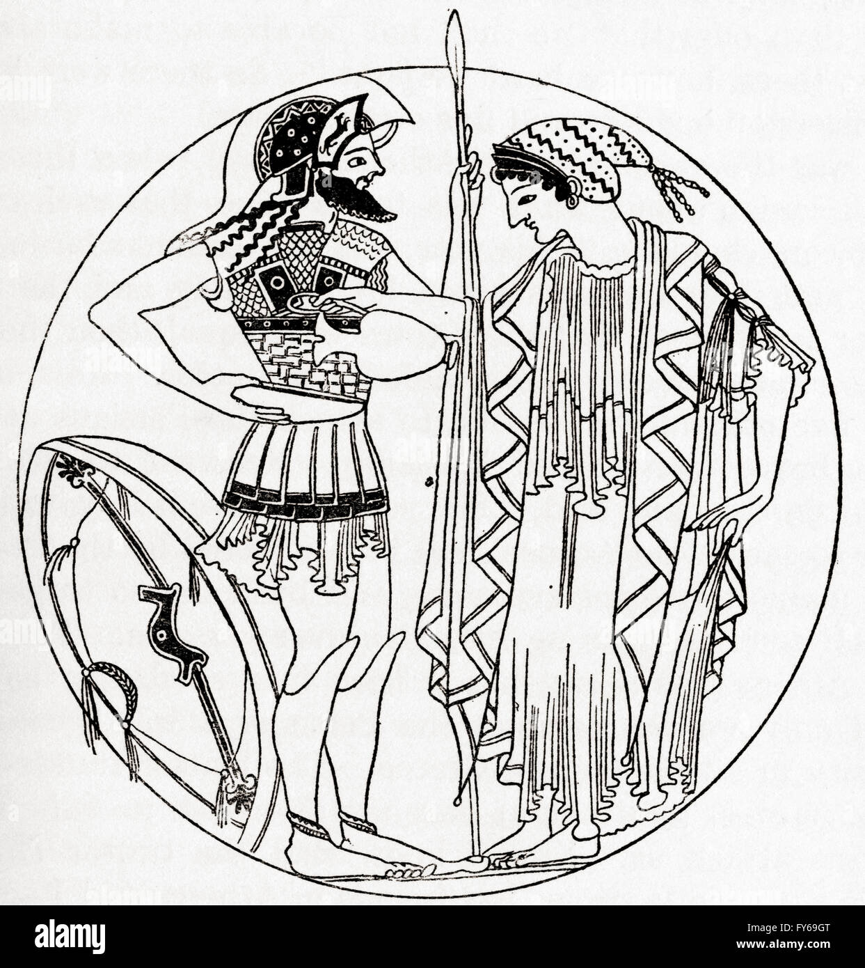 Greek woman pouring a libation, from an ancient vase drawing. A libation is a ritual pouring of a liquid as an offering - Stock Image