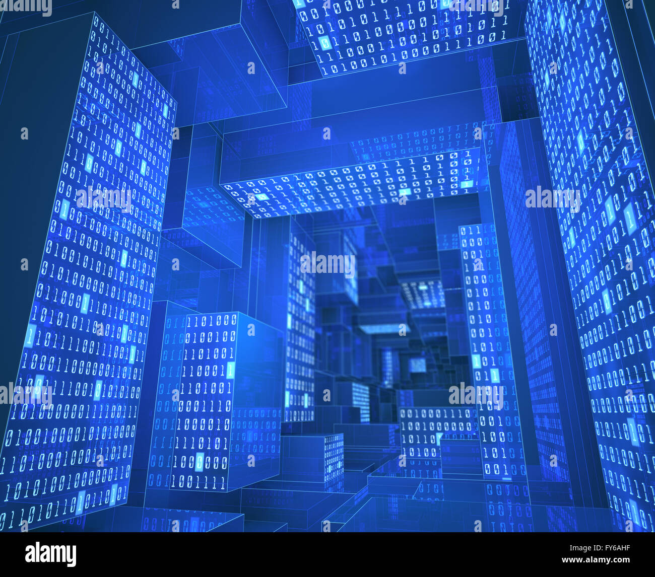 Tunnel composed by zeros and ones in a concept of cloud computing, data storage and processing. Stock Photo