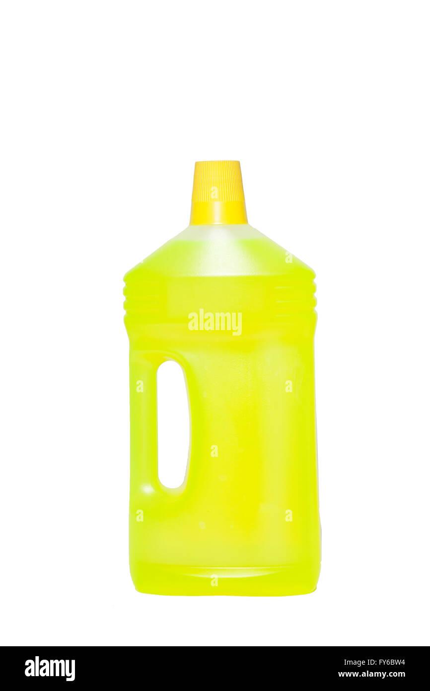 yellow cleaning bottel on white stock photo 102788592 alamy