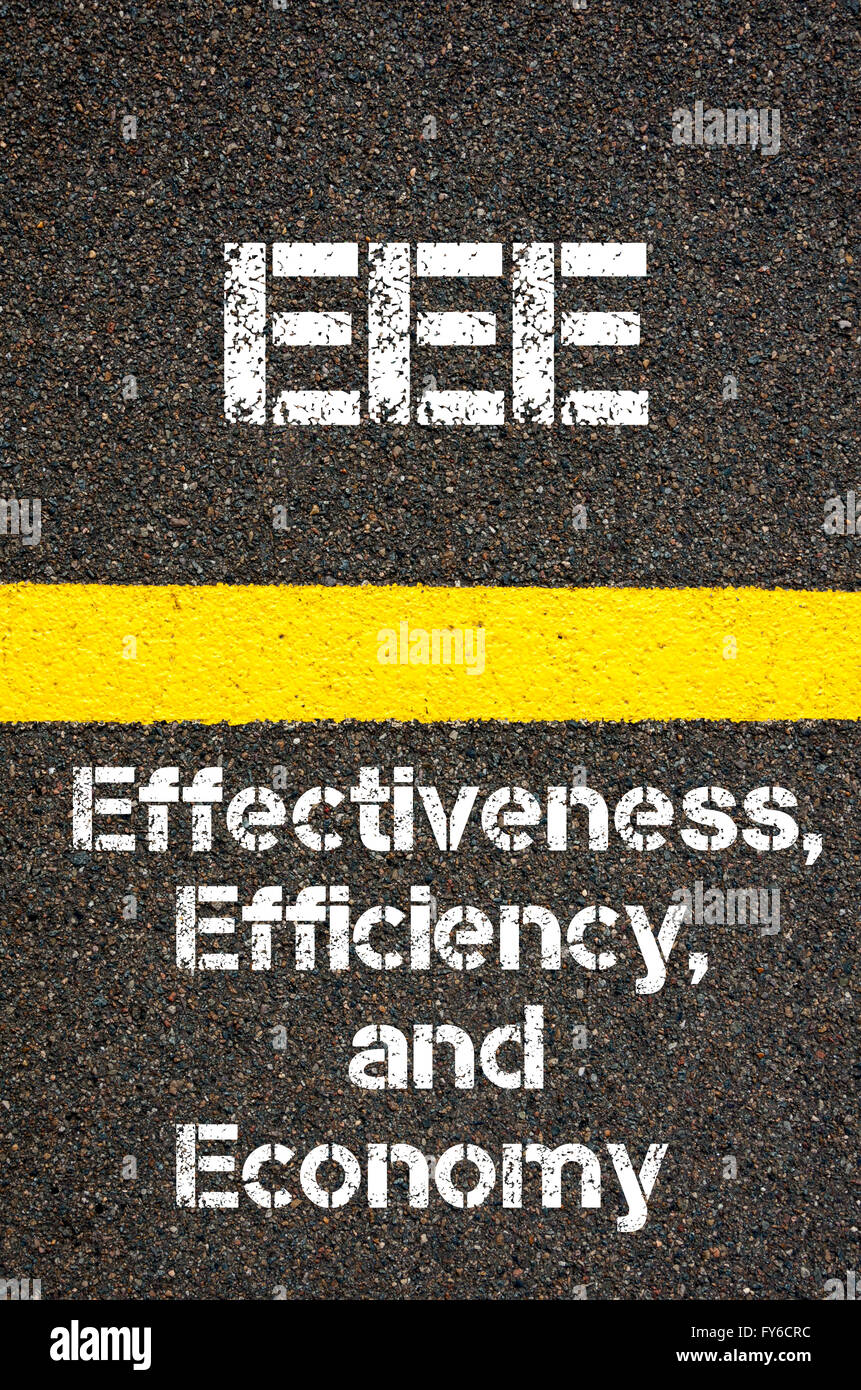 Concept image of Business Acronym EEE Effectiveness, Efficiency, and Economy written over road marking yellow paint - Stock Image
