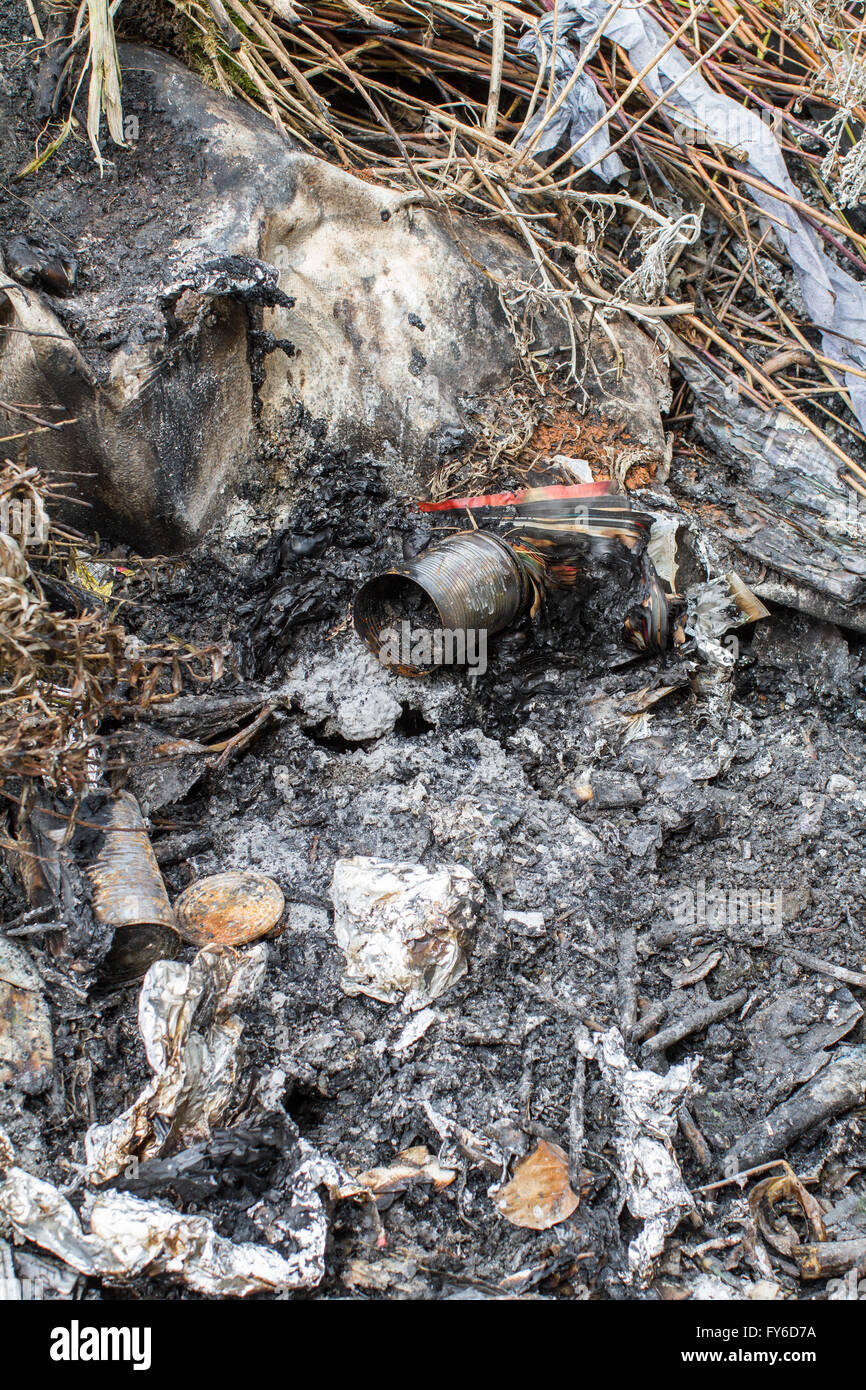 Unburnt tin cans and ash on the remains of a bonfire, with bits of twig and magazine paper making a mess. - Stock Image