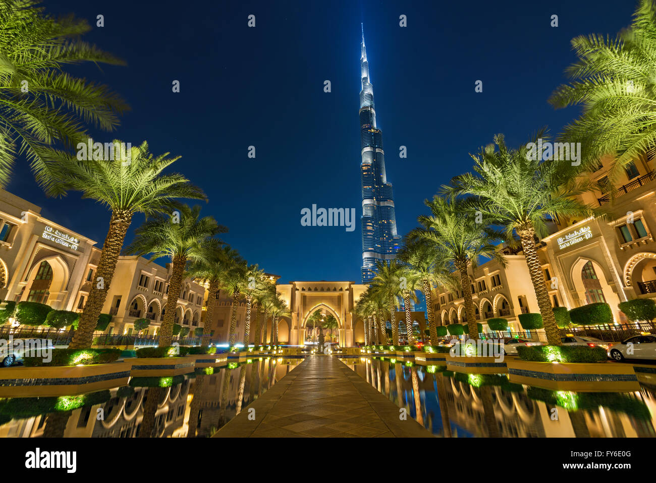 Dubai, UAE, 28 April 2013, Burj Khalifa Tower view from Al Qasr Downtown Dubai - United Arab Emirates - Stock Image