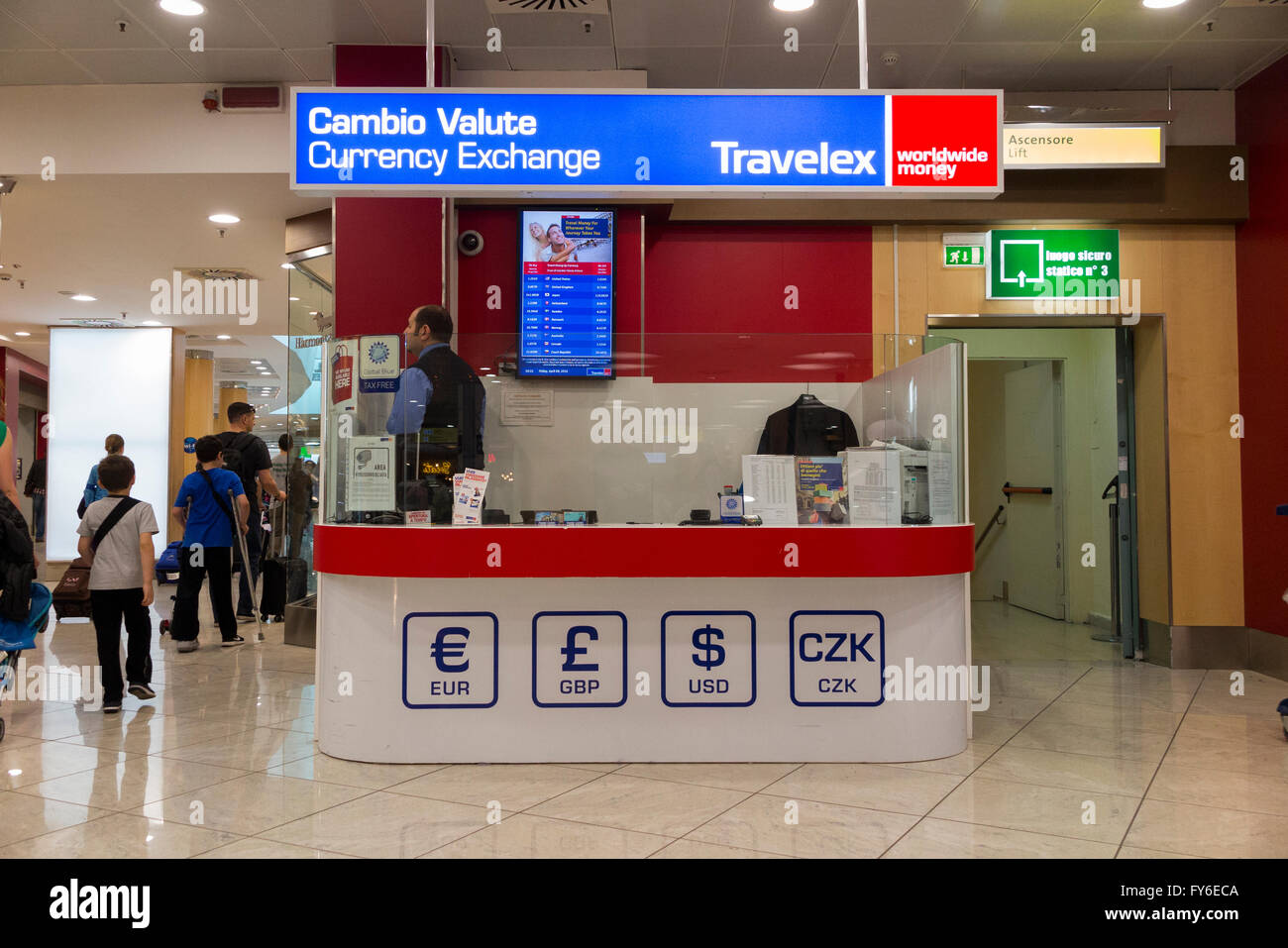 bureau de change office operated by travelex at milan linate airport stock photo 102790586 alamy. Black Bedroom Furniture Sets. Home Design Ideas