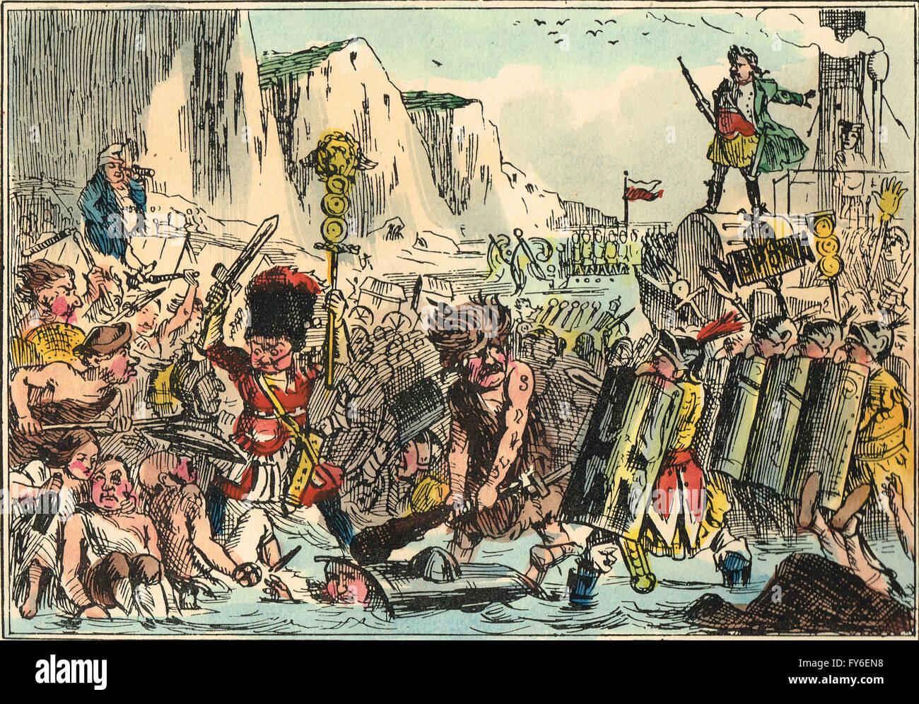 Comical take on the Landing of Julius Caesar in Britain by John Leech - Stock Image