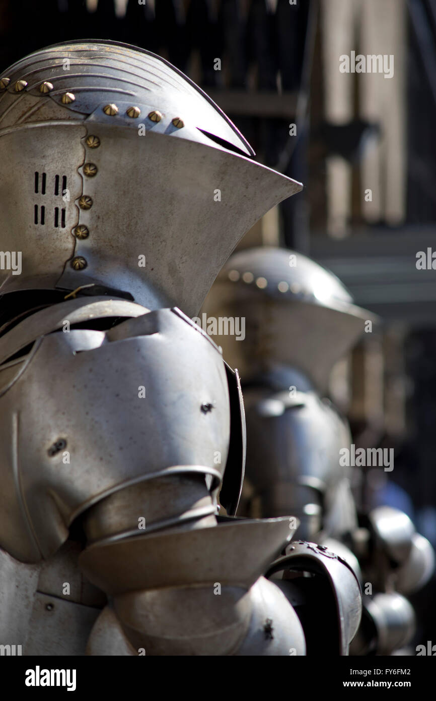 Medieval armoury displayed near Tower Bridge by river Thames. London, UK - Stock Image