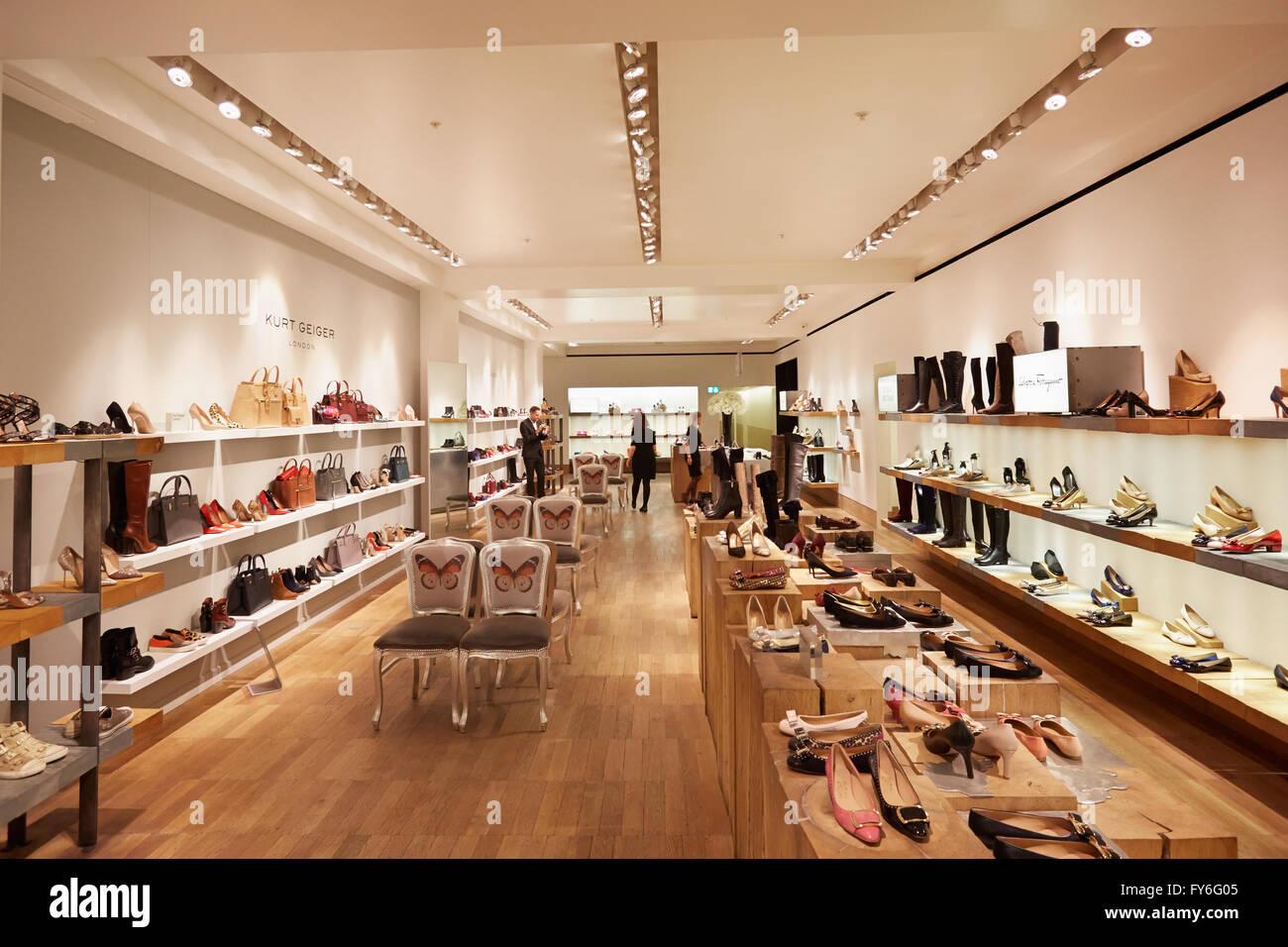 Selfridges department store interior, shoes area - Stock Image