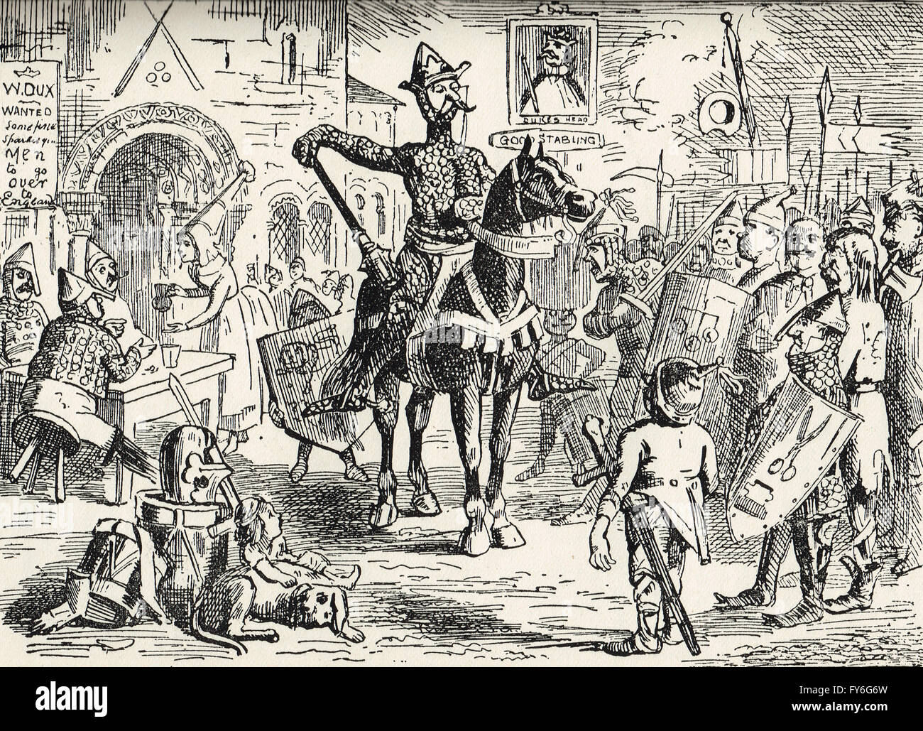 William the Conqueror recruiting for the invasion of Britain by John Leech - Stock Image