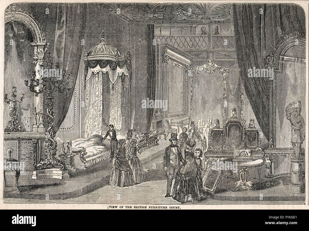 British Furniture Court, The Great Exhibition of 1851 - Stock Image