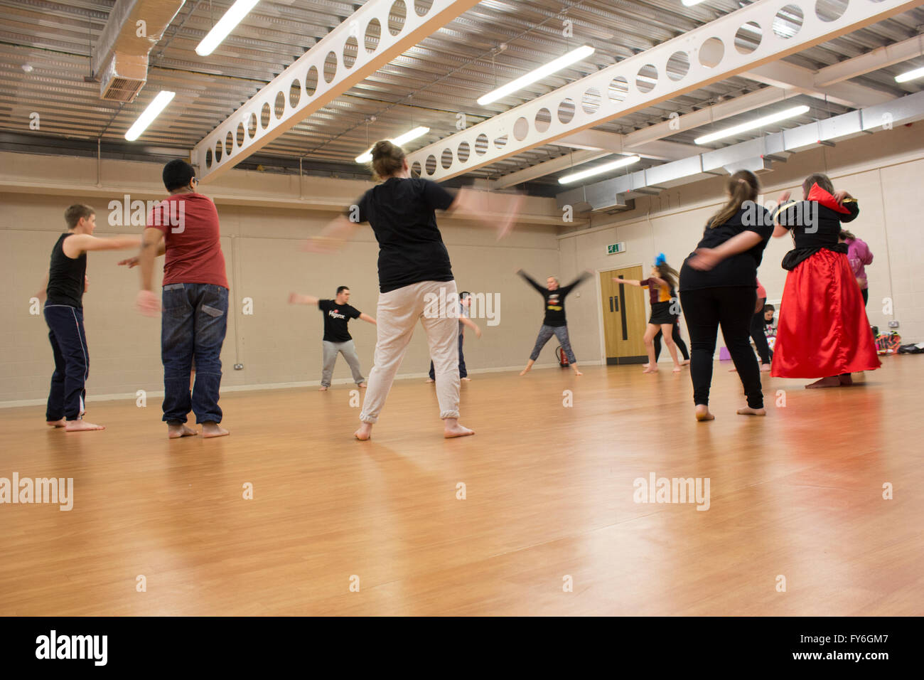 Barry Wales, 25/02/2015, Photographs taken at Barry's YMCA centre where E-Motion holds dance classes for students - Stock Image