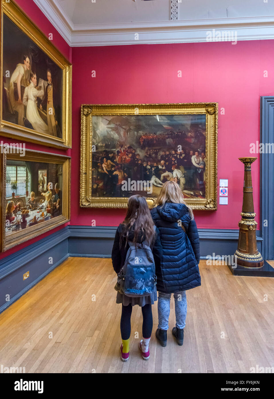 Visitors looking at the Death of Nelson by Benjamin West, Walker Art Gallery, Liverpool, England, UK - Stock Image