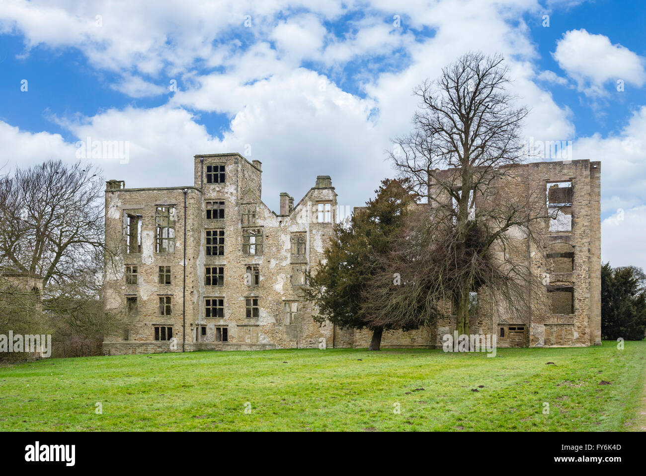 Hardwick Old Hall, the ruins of an Elizabethan country house near Chesterfield, Derbyshire, England, UK - Stock Image