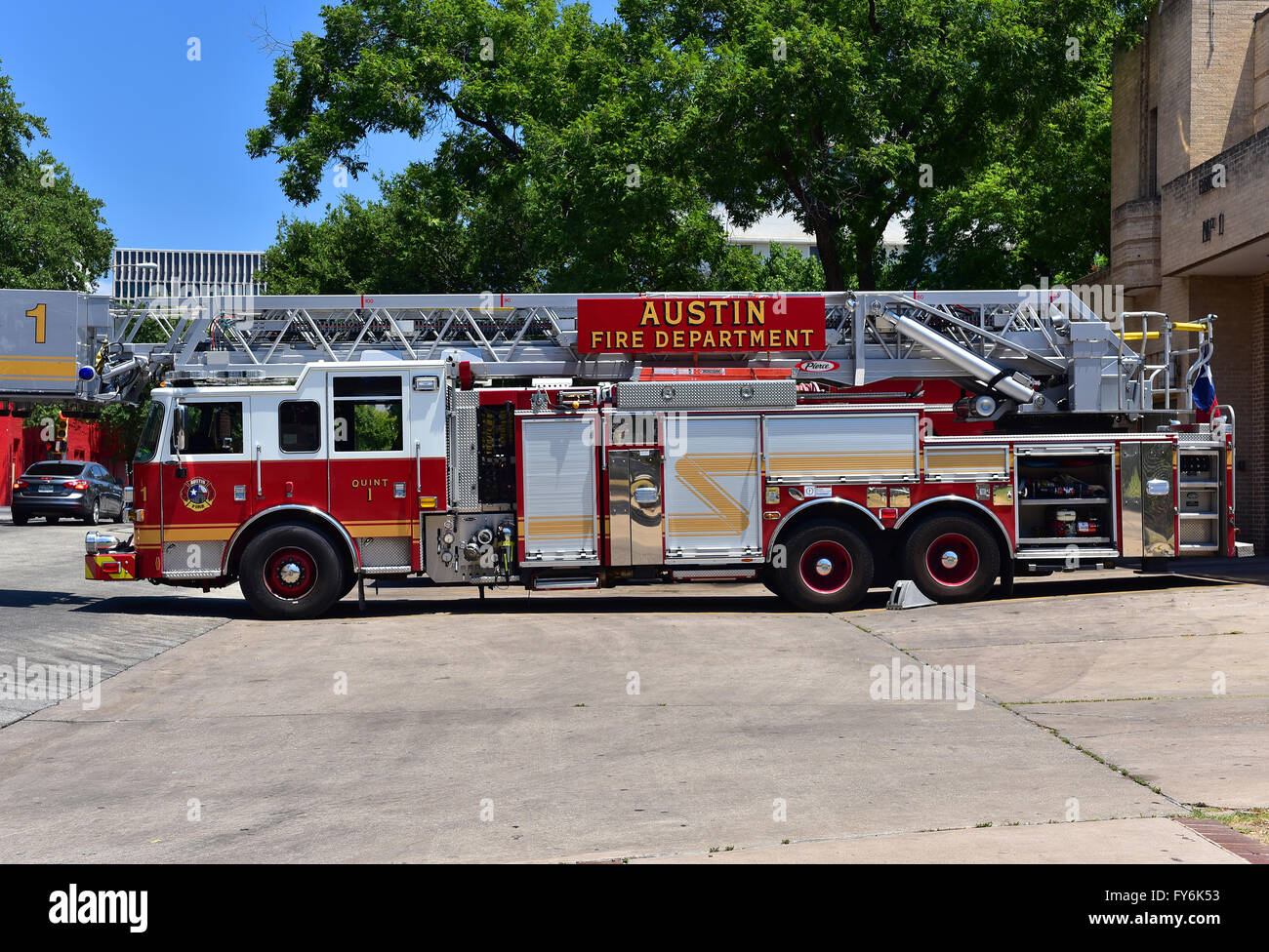 Fire truck from Austin, Texas.August 2015.Fire truck standing in the driveway in front of the fire station.Editorial.Horizontal - Stock Image