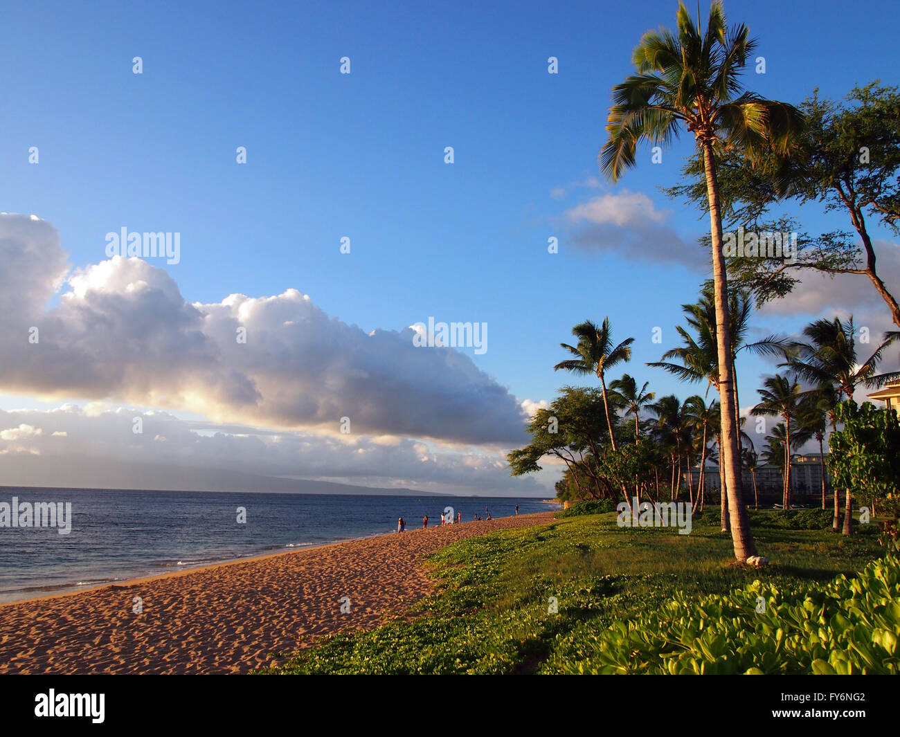 Kaanapali Beach at Dusk with gentle waves, people, hotels and trees. Island of Lanai can be seen in the distance - Stock Image