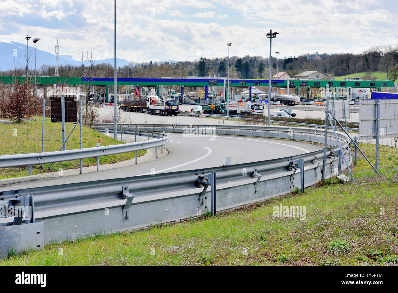 French toll booths on A41 road by Allonzier-la-Caille - Stock Image