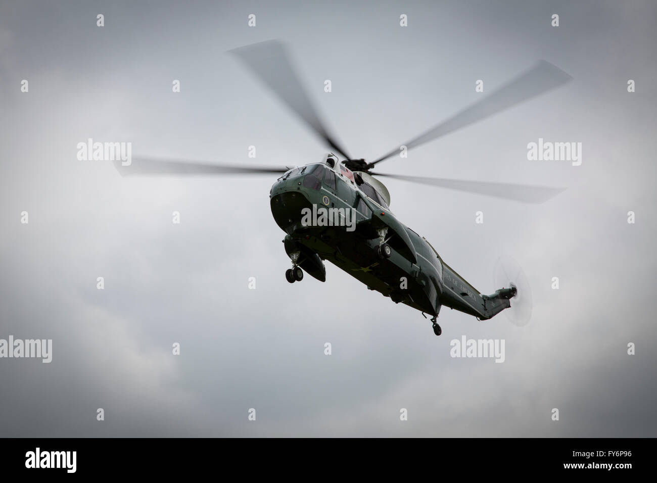 Marine One a VH-3D Sea King helicopter carrying the President of the US landing at Windsor Castle in the UK - Stock Image