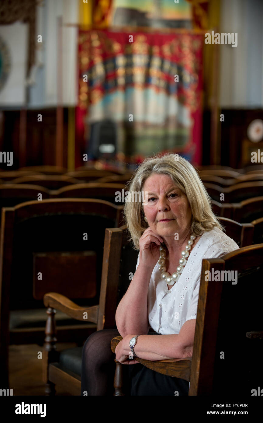 Barbara Jackson, chair of the Truth and Justice campaign in the main hall of the NUM headquarters in Barnsley - Stock Image