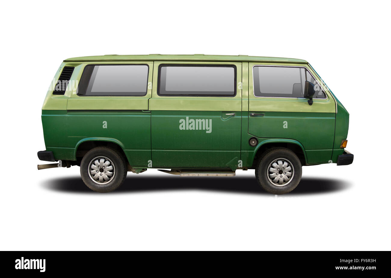 Green Camper Van Side View Isolated On White