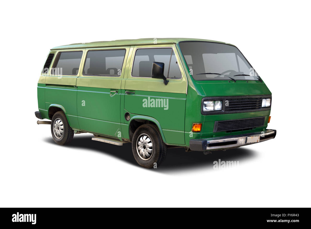 Green camper van side view isolated on white Stock Photo