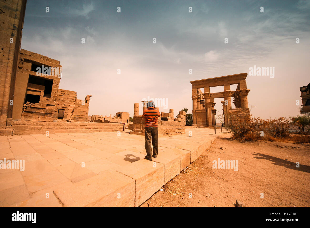 Temple of Philae, UNESCO World Heritage Site, Agilkia Island, Nile Valley, Nubia, Egypt, North Africa - Stock Image
