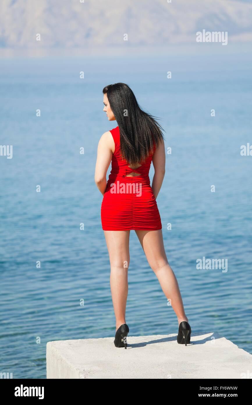 Abstract long legs short mini dress