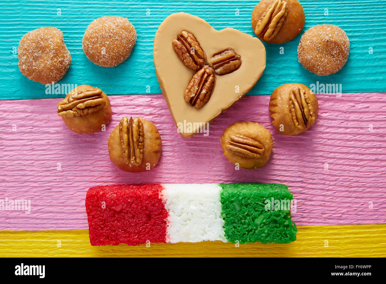 Mexican candy sweets cajeta pecan and coconut flag Stock