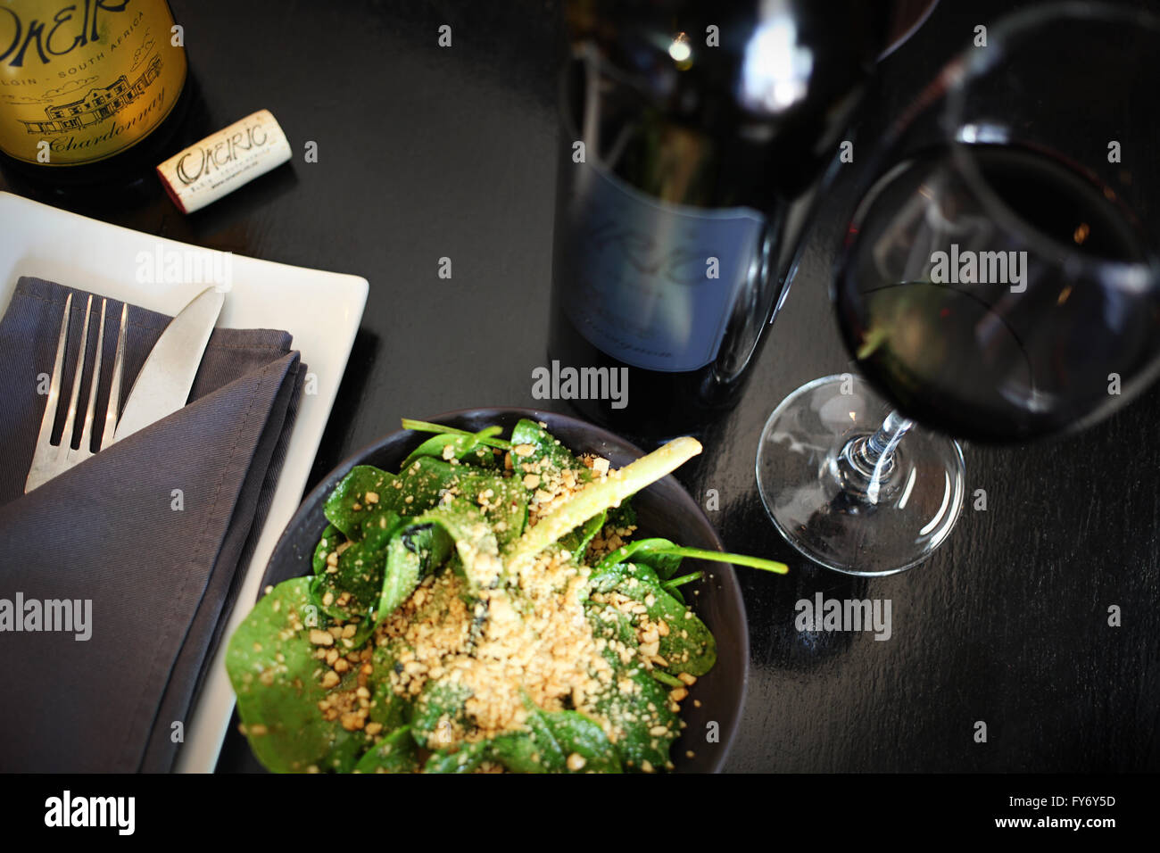 Food and wine pairing - Stock Image