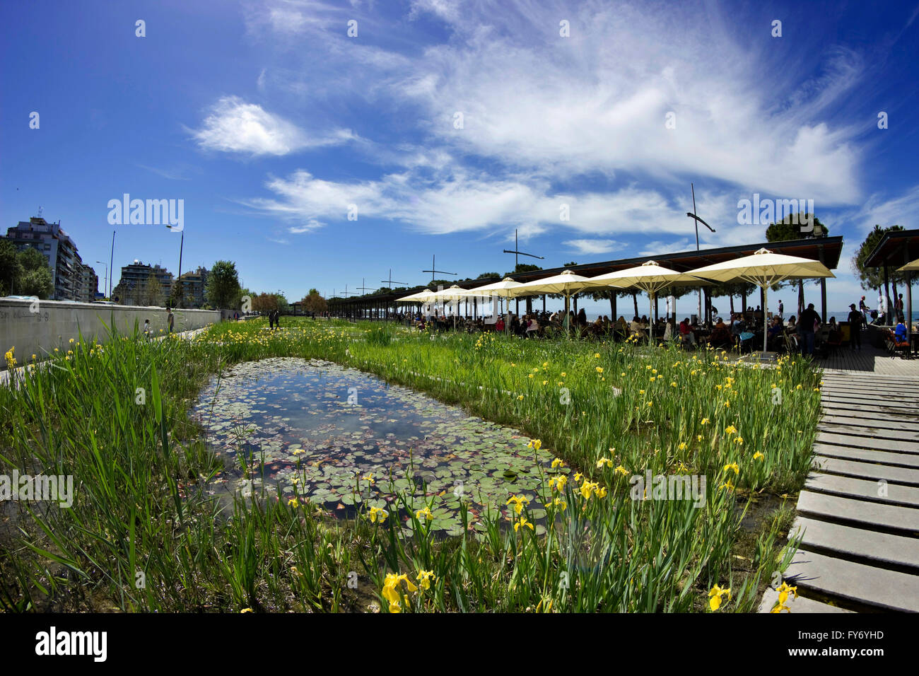 The Garden of water (Kipos nerou in GR) cafee next to the water lily pond surrounded by hydrophilic reeds. Thessaloniki, - Stock Image