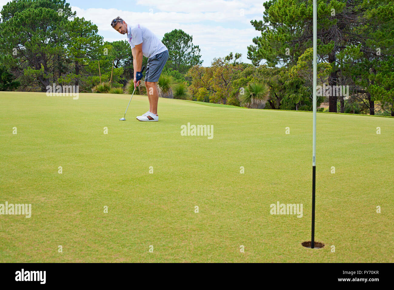 Young golfer putting toward the hole. Golf. Stock Photo