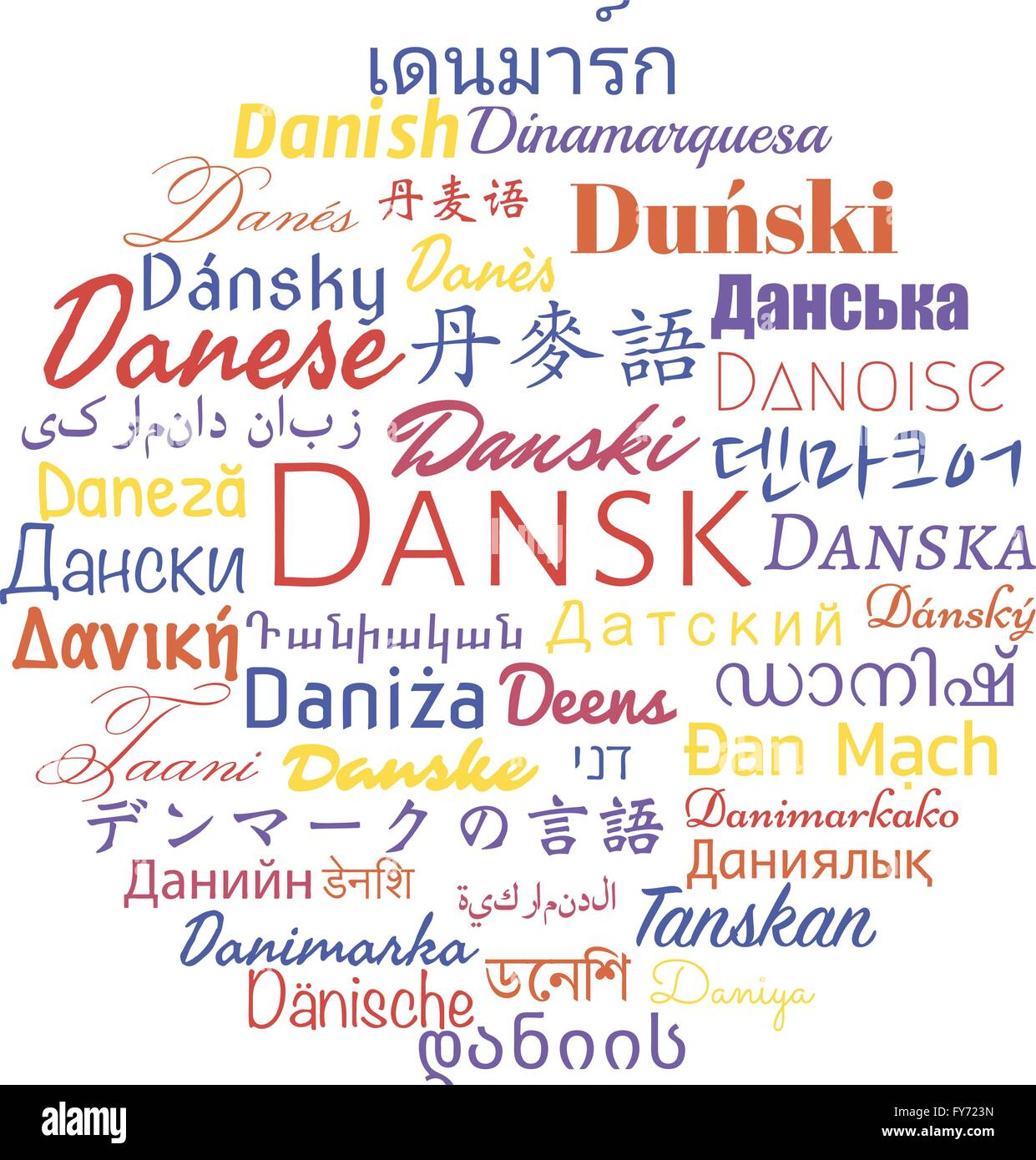 Danish Language In The Languages Of The World. Vector
