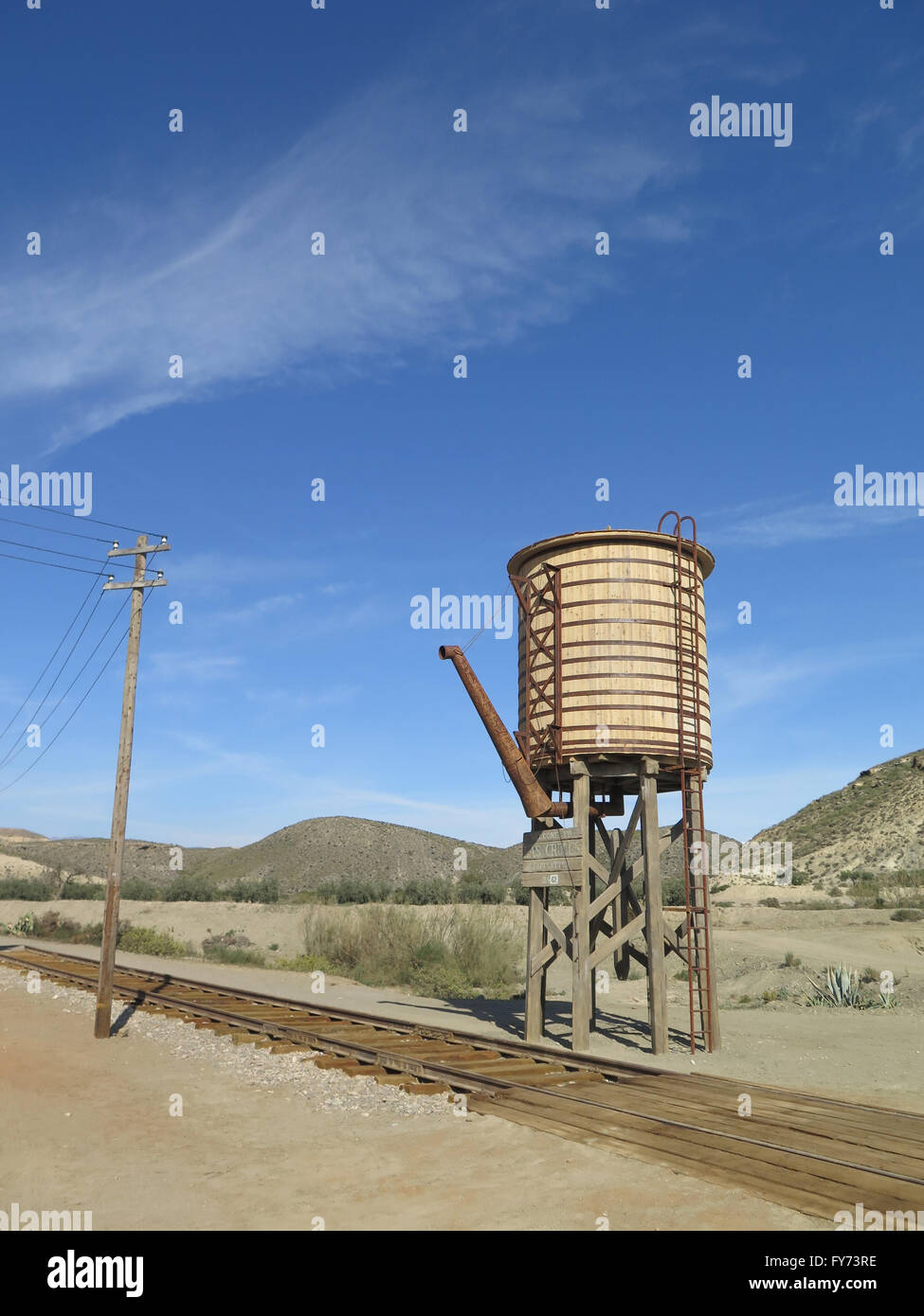 Fort Bravo, Spain - January 23rd 2016:  Wooden Railway Water Tower in Fort Bravo Film Set Tabernas Desert. - Stock Image