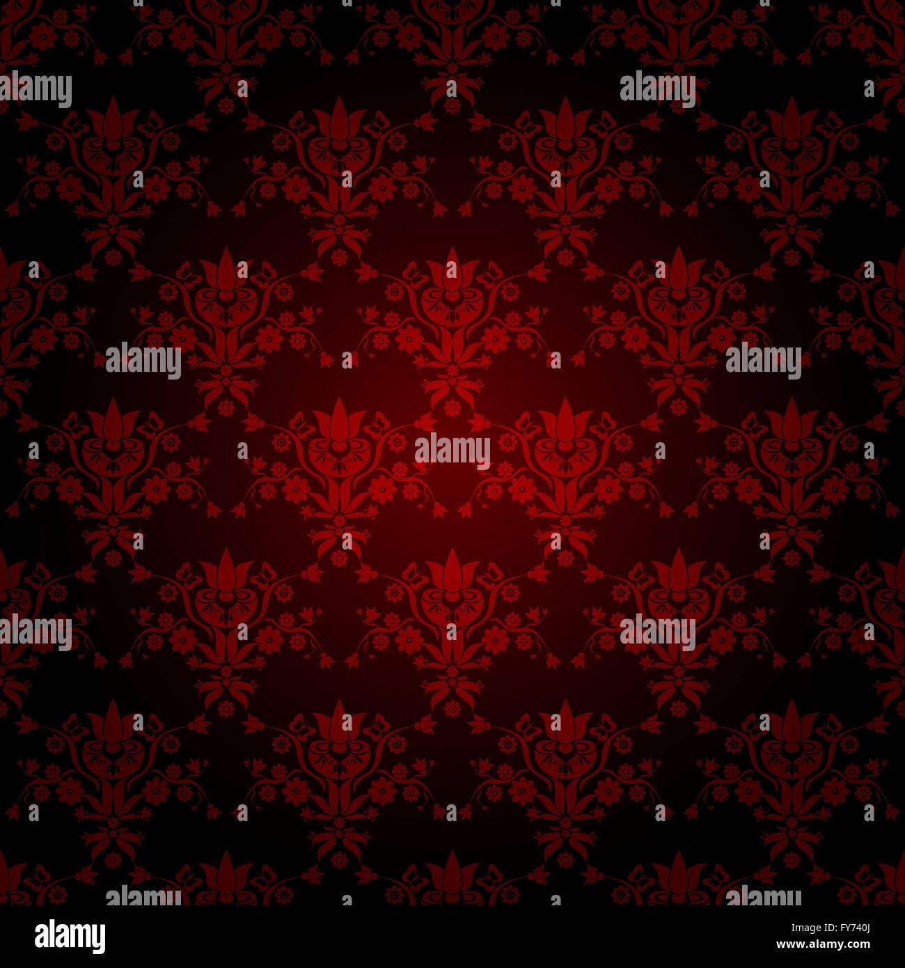 decorative red seamless wallpaper with dark background - Stock Vector