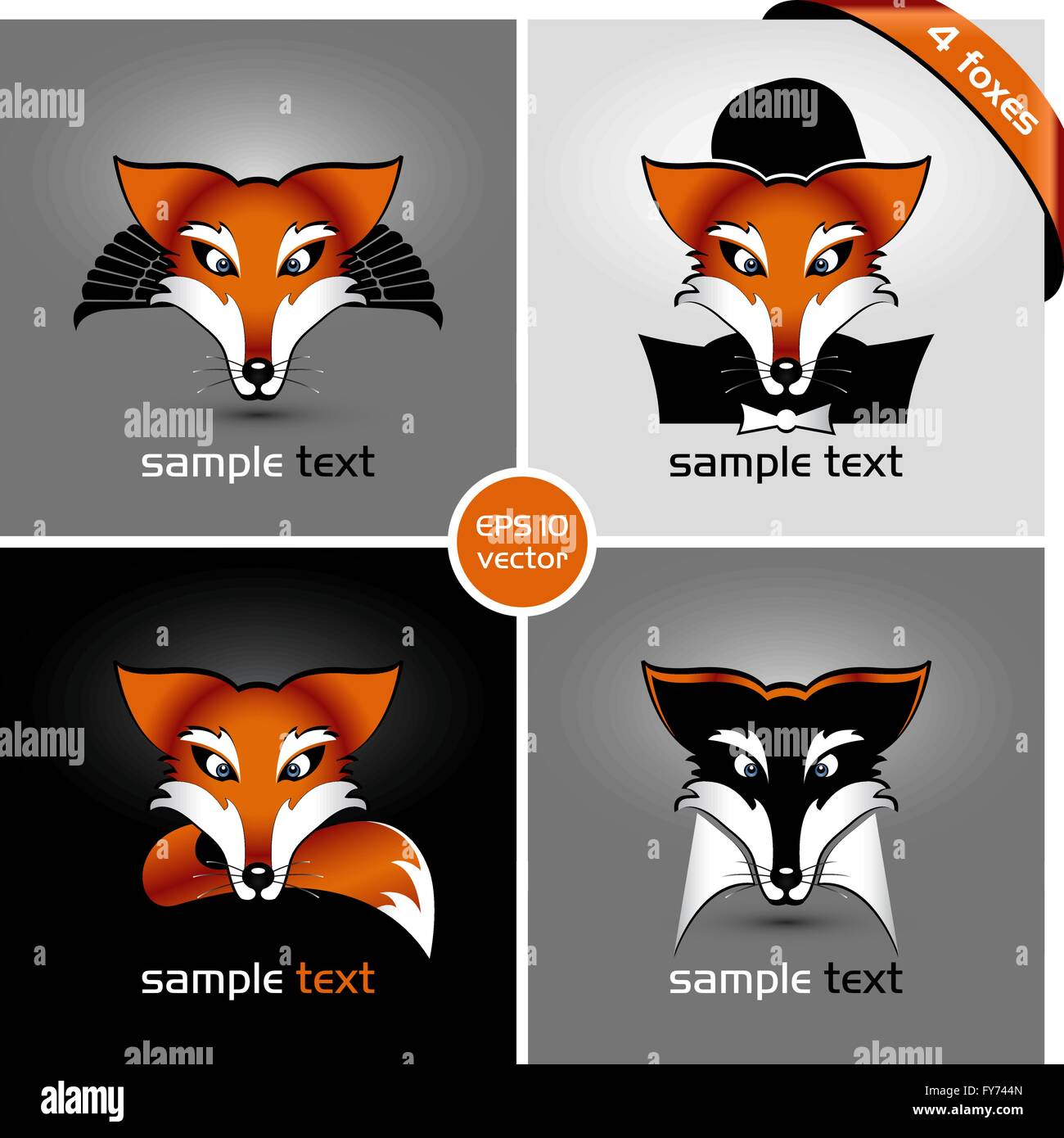 vector drawing of heads of four foxes, eps 10, the drop shadow contains transparencies - Stock Image