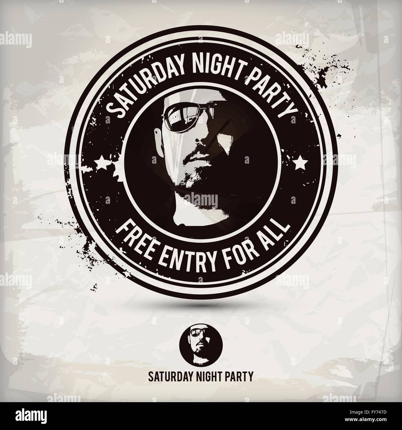 saturday night party stamp on textured background, which is made from several transparent layers for a worn, rubbed - Stock Vector
