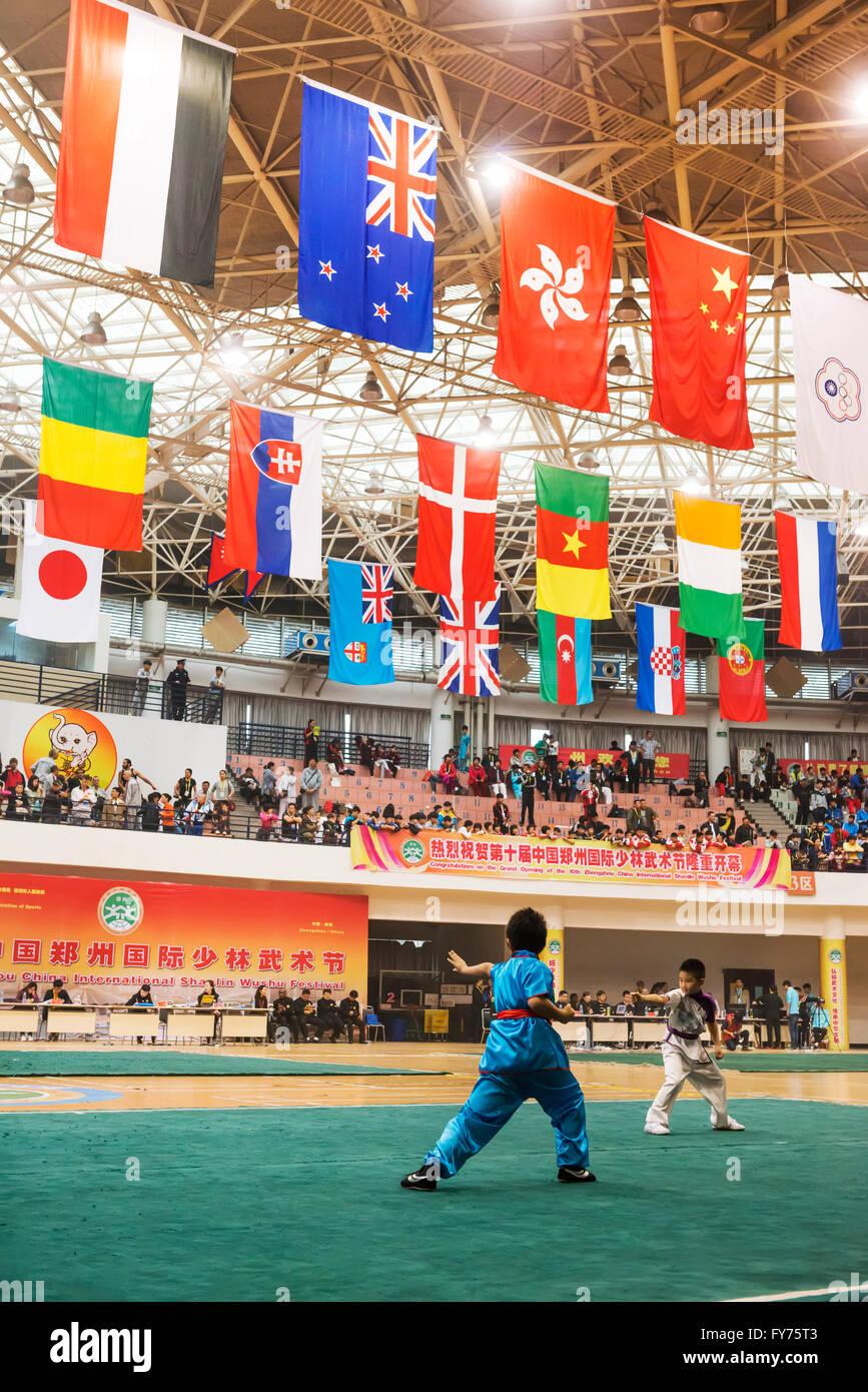 Children perform at Zhengzhou International Shaolin Wushu Festival, Zhengzhou, Henan, China - Stock Image