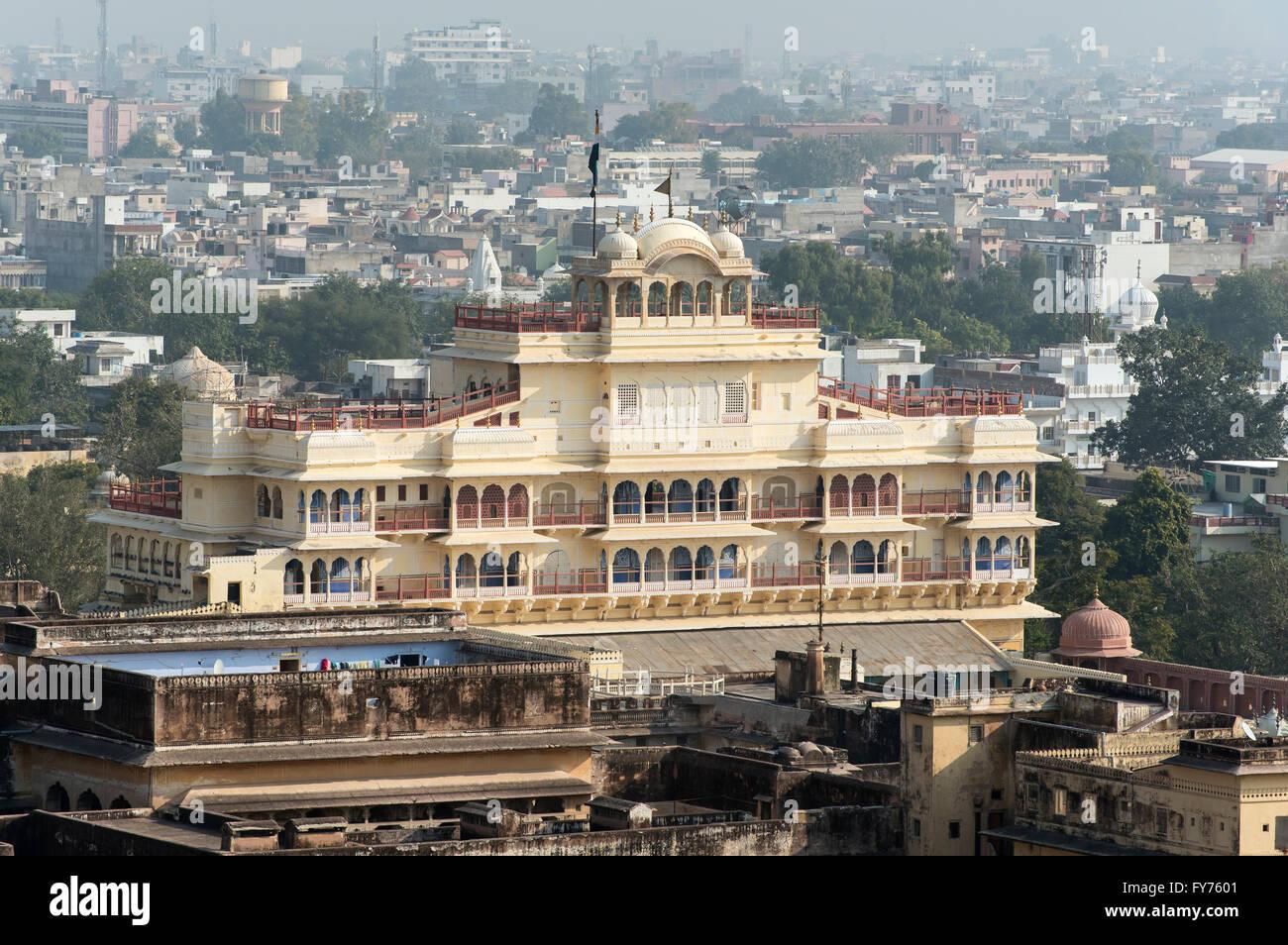 Chandra Mahal or Niwas Building of City Palace, Jaipur, Rajasthan, India - Stock Image