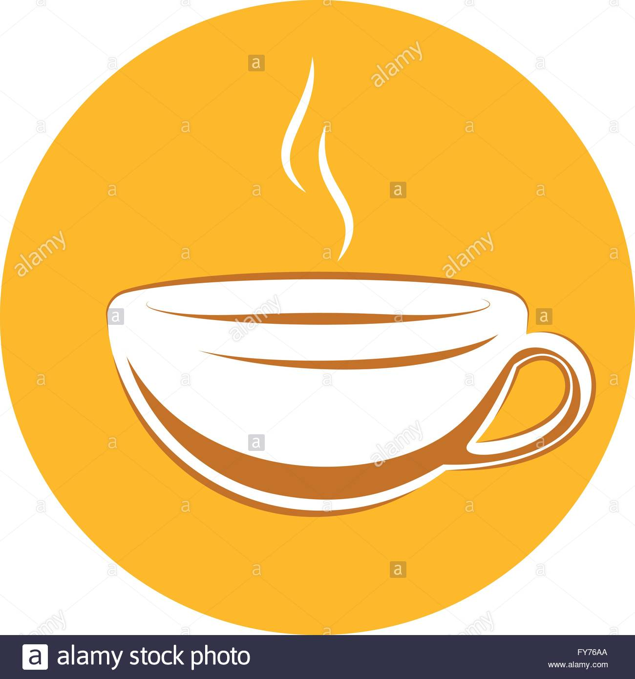 Coffee Cup. Line Drawing Vector Illustration of a Coffee Cup Icon in Brazilian Style - Stock Vector