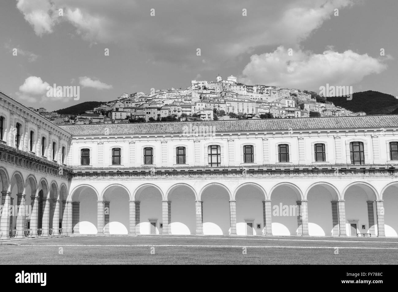 Padula Charterhouse is an ancient monastery in Cilento National Park. It was founded by Tommaso di Sanseverino 450 Stock Photo