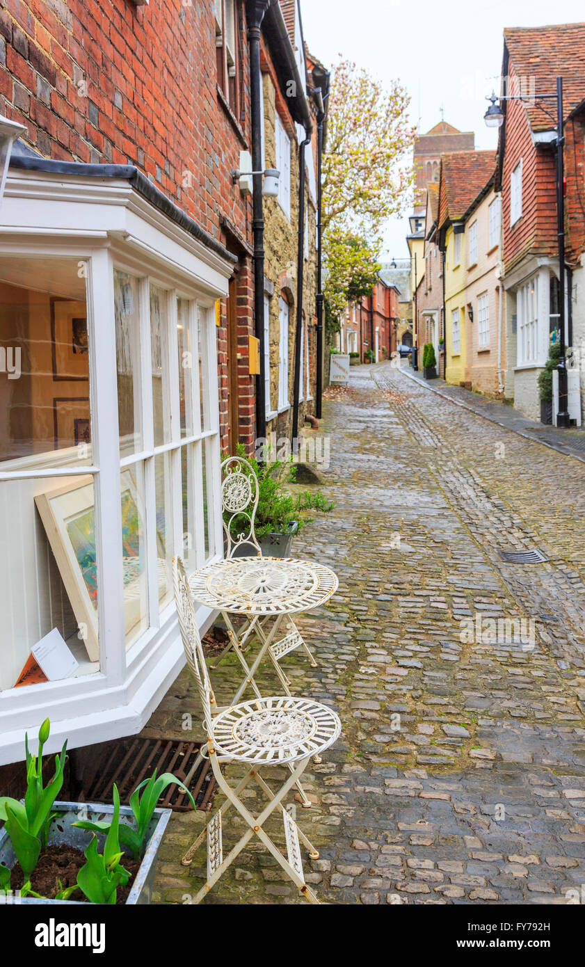 Antiques shops in Lombard Street, a cobbled lane in the historic antiques centre of Petworth, West Sussex - Stock Image