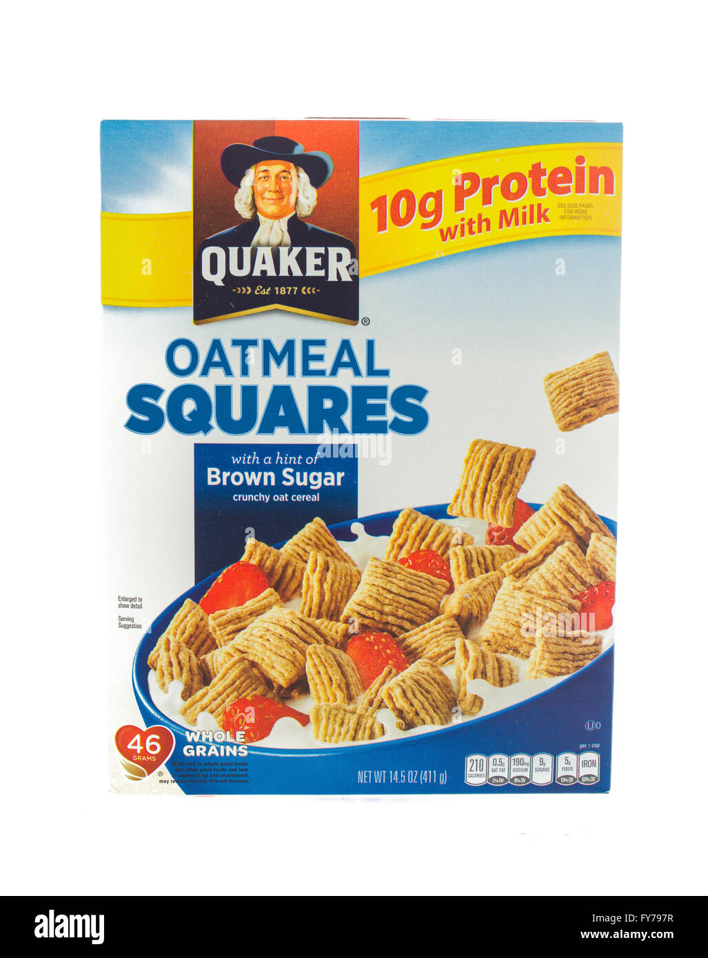 Winneconne, WI - 5  February 2015: Box of Oatmeal Squares cereal.  Oatmeal Squares is owned by the Quacker Oats Stock Photo