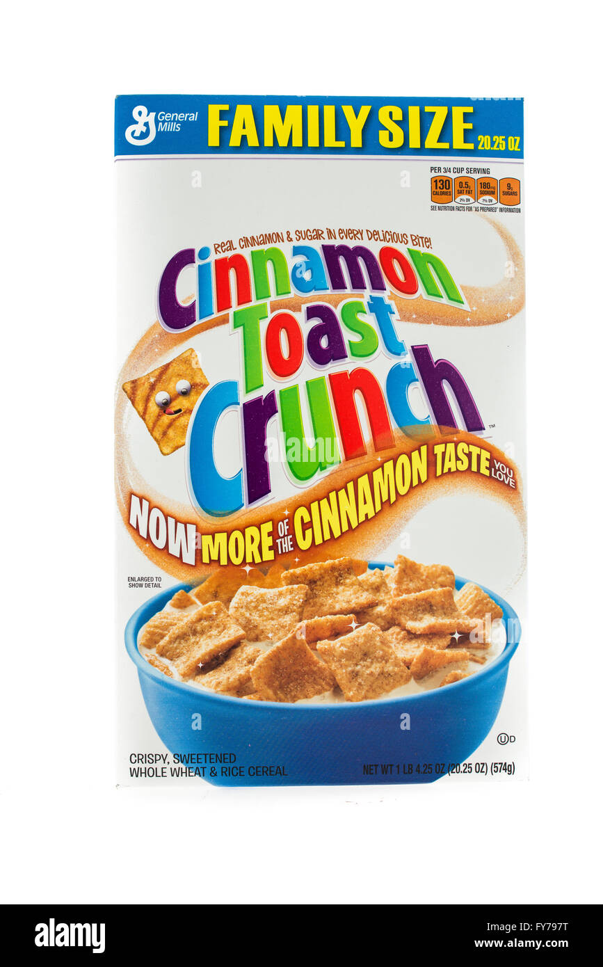 Winneconne, WI - 5  February 2015: Box of Cinnamon Toast Crunch cereal a product of General Mills. - Stock Image