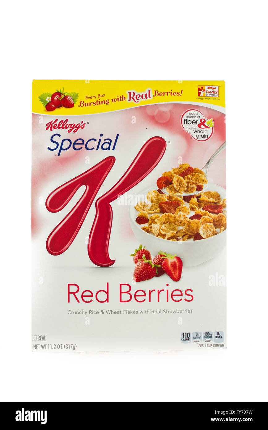 Winneconne, WI - 5  February 2015: Box of Kellogg's Special K Red Berries cereal. Marketed as a low fat cereal. - Stock Image