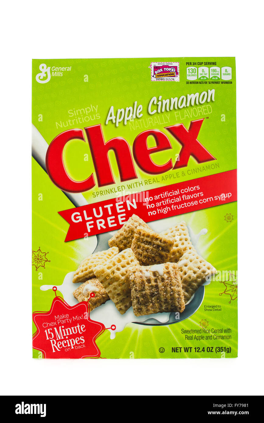 Winneconne, WI - 5  February 2015: Box of Chex Apple Cinnamon cereal a product of General Mills. - Stock Image