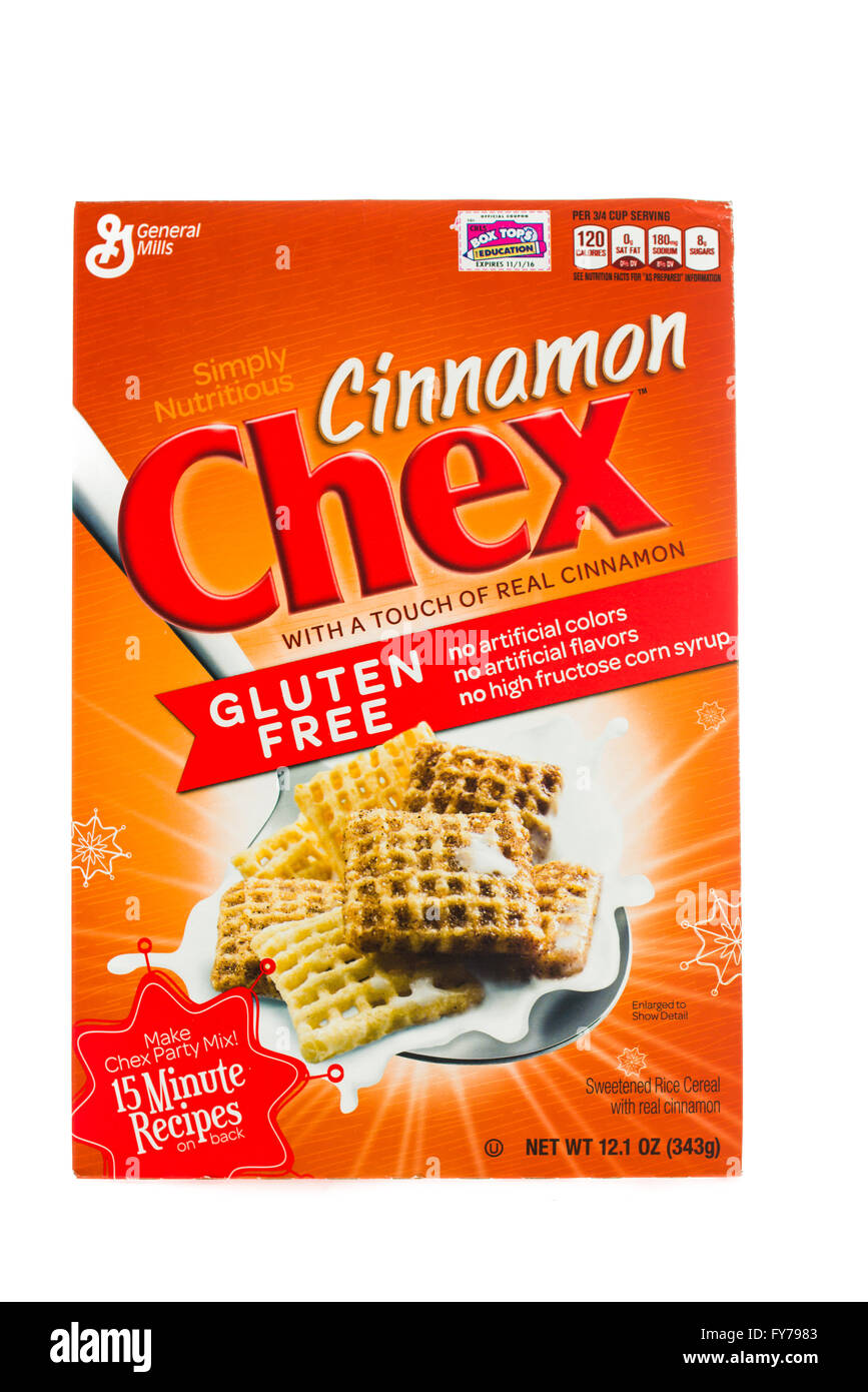 Winneconne, WI - 5  February 2015: Box of Chex Cinnamon cereal a product of General Mills. - Stock Image