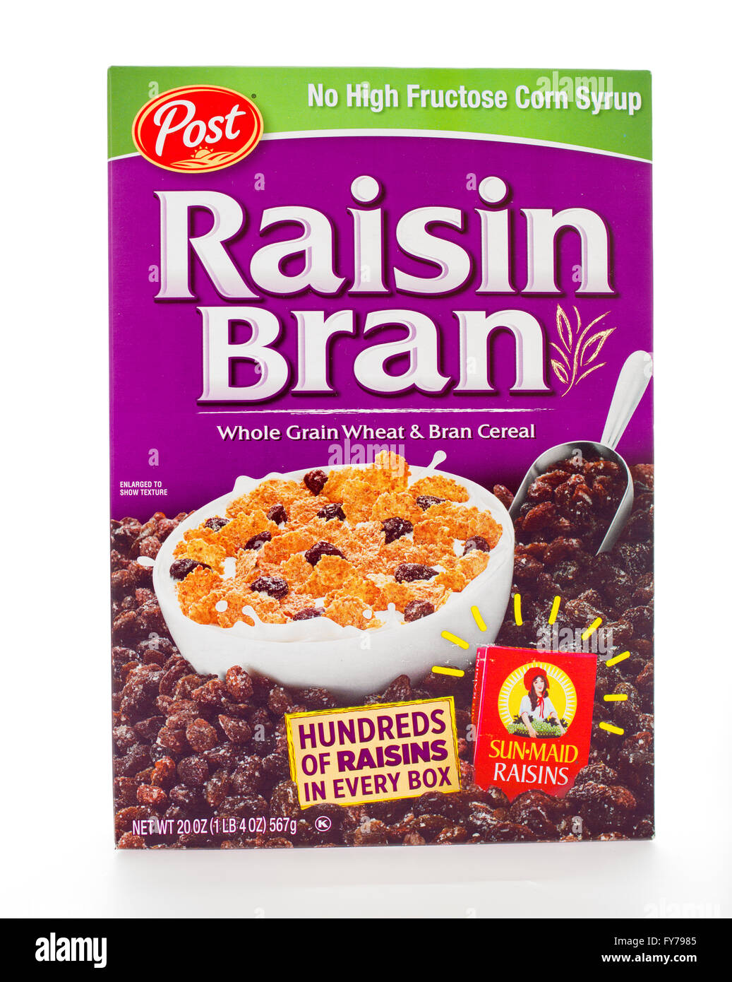 Winneconne, WI - 7 February 2015: Box of Raison Bran cereal a product of Post. Stock Photo